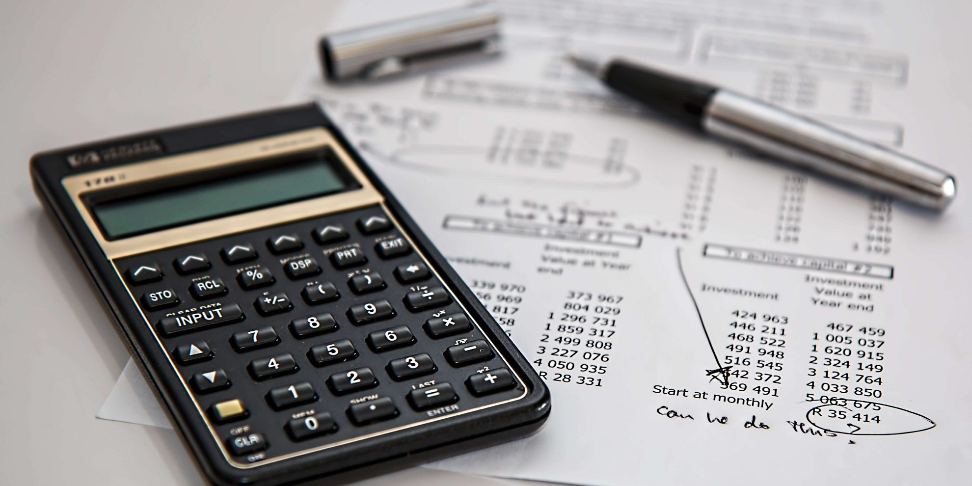 Bookkeeping services with calculator ready